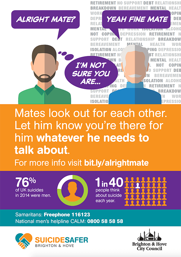Mates look out for each other. Let him know you're there for him whatever he needs to talk about.