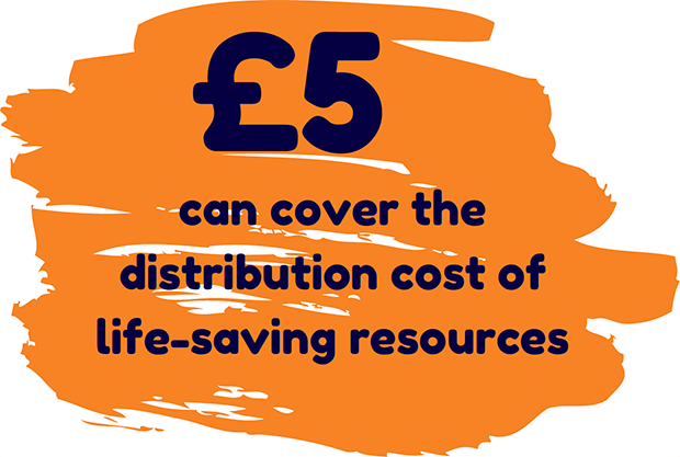 5 pounds can cover the distribution cost of life-saving resources