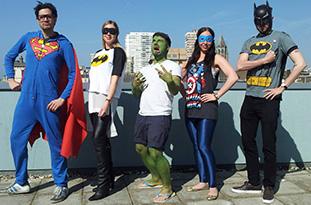 Superheroes in costume