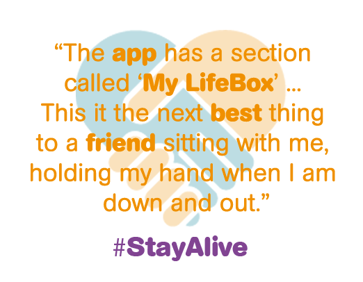 The app has a section called My LIfebox... This is the next best thing to a friend sitting with me, holding my hand when I m down and out.