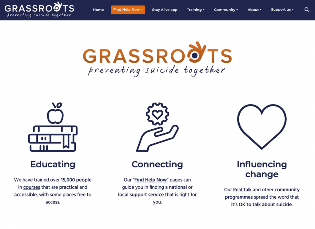 Image of the Grassroots Home Page