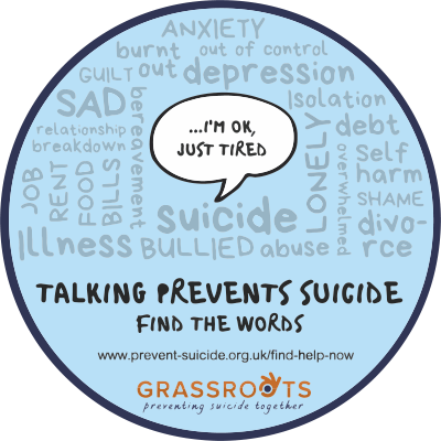Our sticker design: Talking prevents suicide. Find The Words