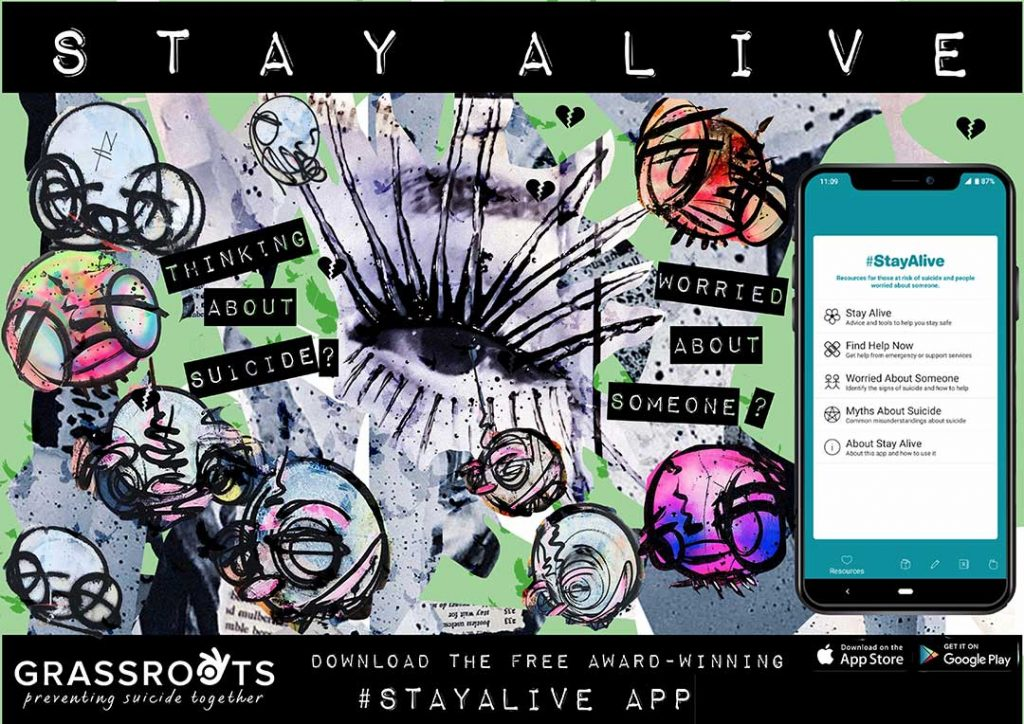 Street art image of an eye and a picture of the Stay Alive app