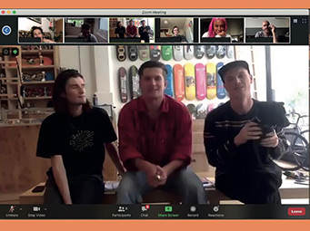 Three people from Slam City Skates present at a Webinar.