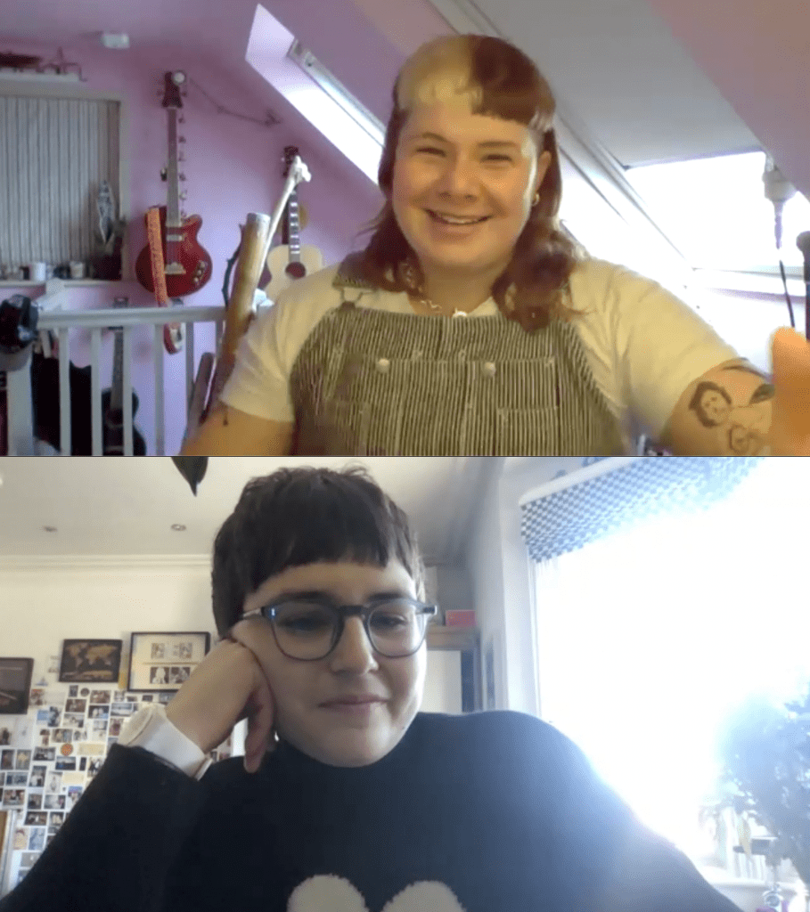 A screenshot of Hannah and Clara on the video call for the interview.