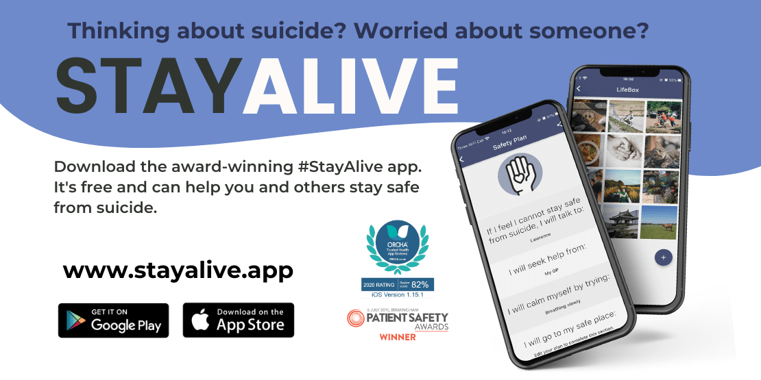 Thinking about suicide? Worried about someone? Download the award-winning #StayAlive app. It's free and can help you and others stay safe from suicide. www.stayalive.app.