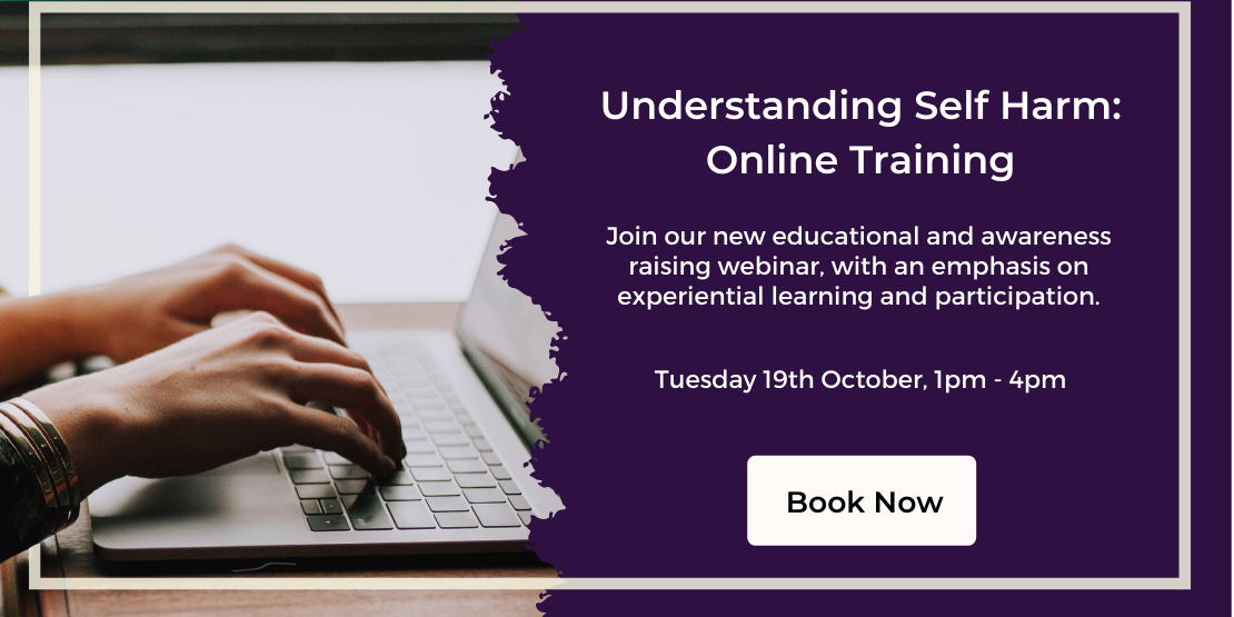 Understanding Self Harm: Online Training. Join our new educational and awareness raising webinar, with an emphasis on experiential learning and participation. Tuesday 19th October, 1pm to 4pm. Book now.